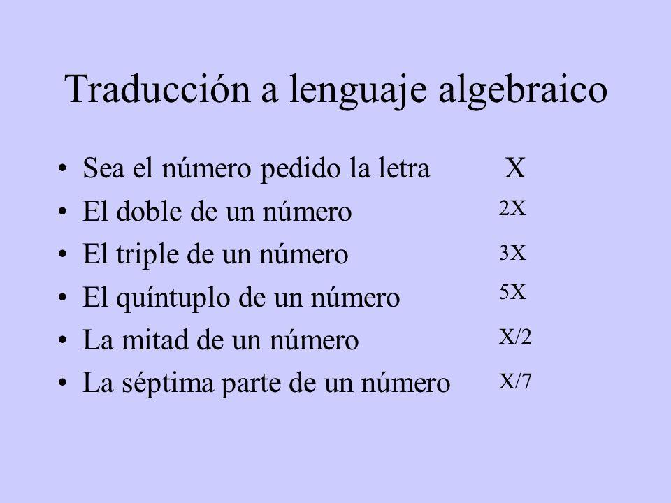 Traducción a lenguaje algebraico