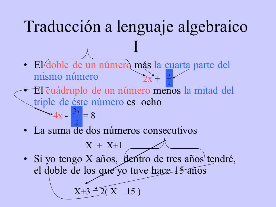 Traducción a lenguaje algebraico I