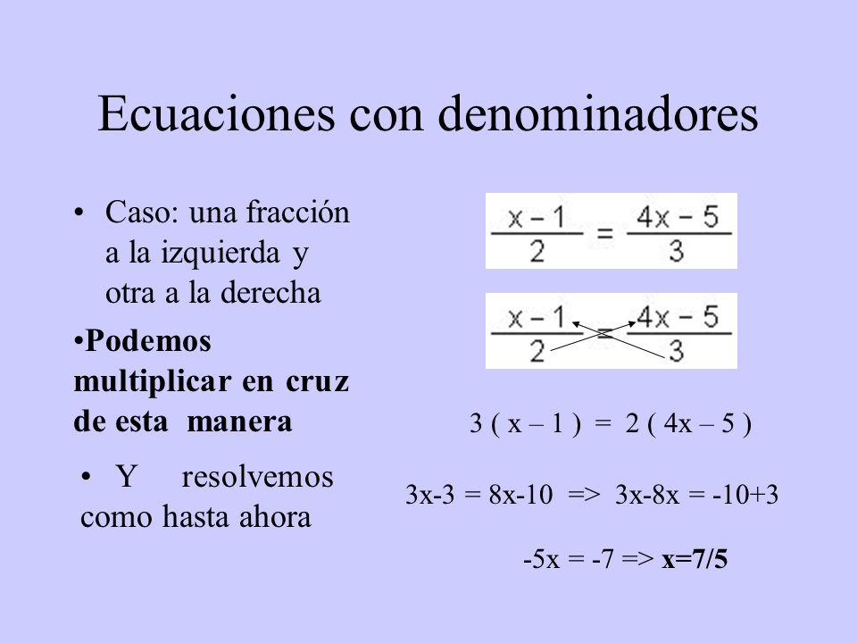 Ecuaciones con denominadores