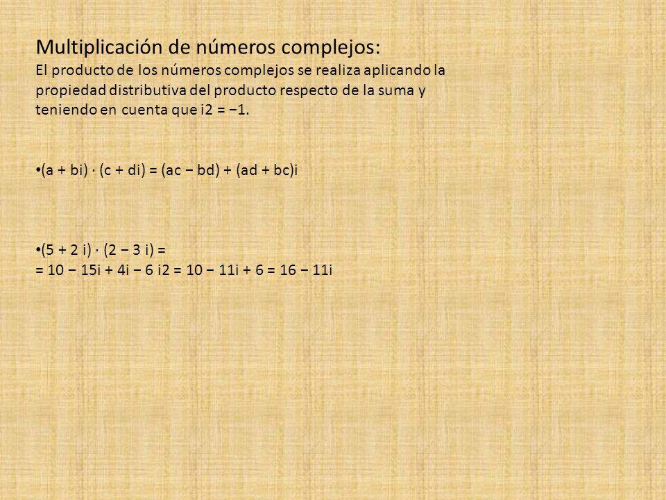 Multiplicación de números complejos: