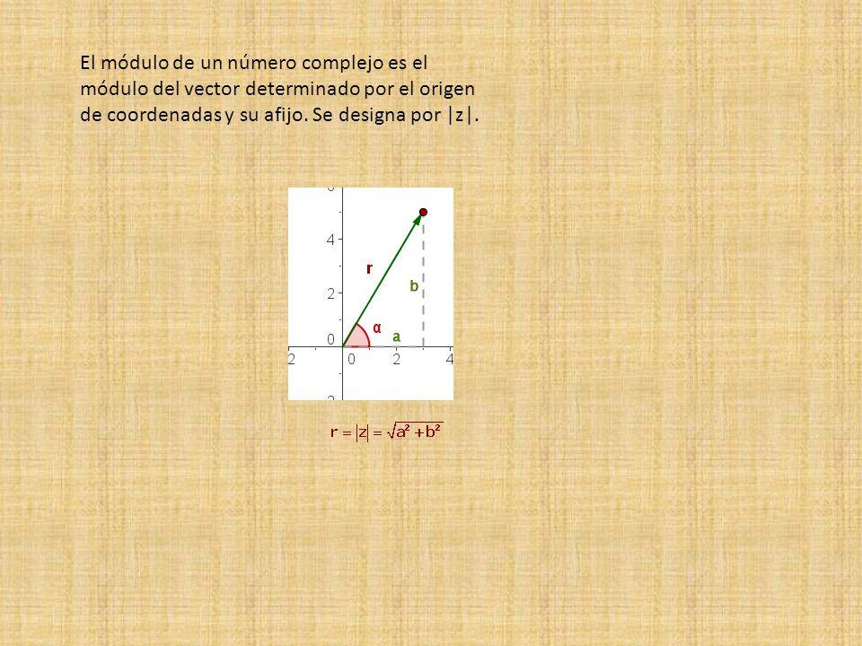 El módulo de un número complejo es el módulo del vector determinado por el origen de coordenadas y su afijo.