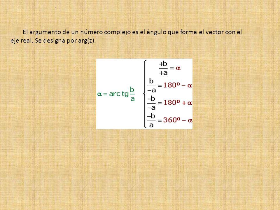 El argumento de un número complejo es el ángulo que forma el vector con el eje real.