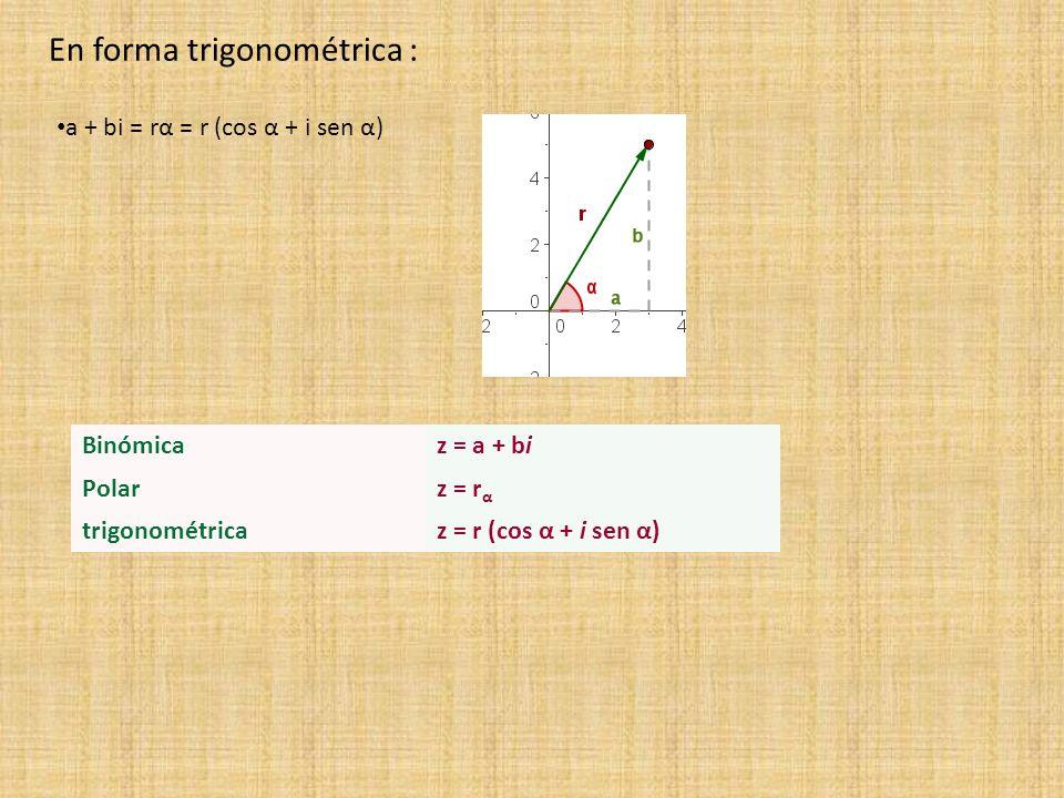 En forma trigonométrica :