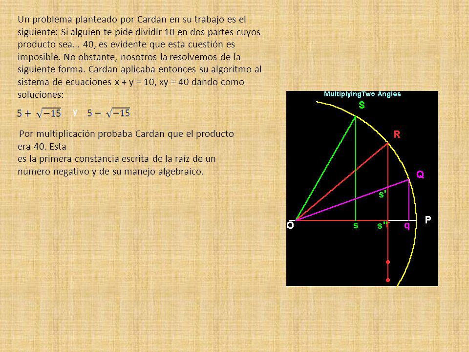 Un problema planteado por Cardan en su trabajo es el siguiente: Si alguien te pide dividir 10 en dos partes cuyos producto sea... 40, es evidente que esta cuestión es imposible. No obstante, nosotros la resolvemos de la siguiente forma. Cardan aplicaba entonces su algoritmo al sistema de ecuaciones x + y = 10, xy = 40 dando como soluciones: