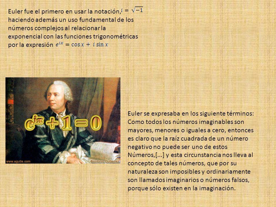 Euler fue el primero en usar la notación, haciendo además un uso fundamental de los números complejos al relacionar la exponencial con las funciones trigonométricas por la expresión