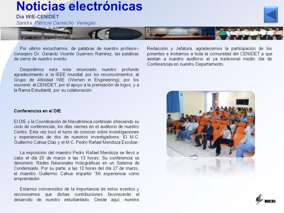 Noticias electrónicas Día WIE-CENIDET Sandra Patricia Camacho Venegas