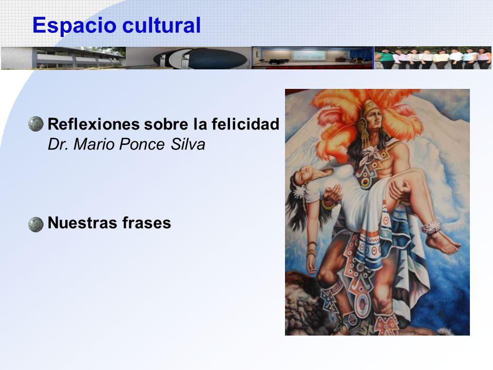Espacio cultural Reflexiones sobre la felicidad Dr. Mario Ponce Silva