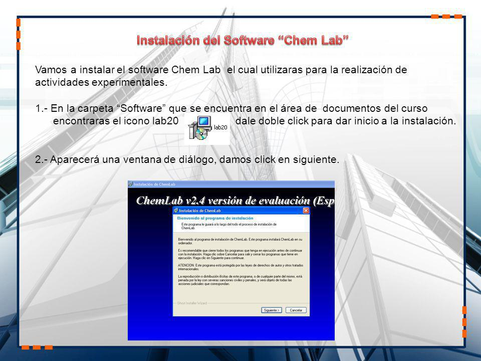 Instalación del Software Chem Lab