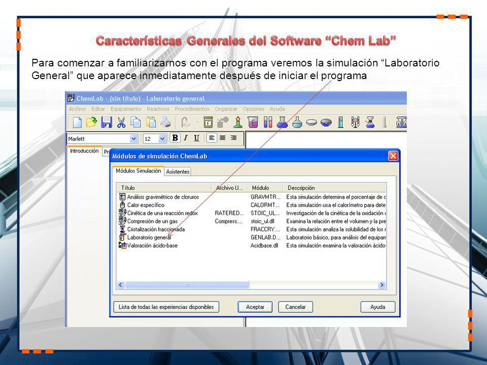Características Generales del Software Chem Lab