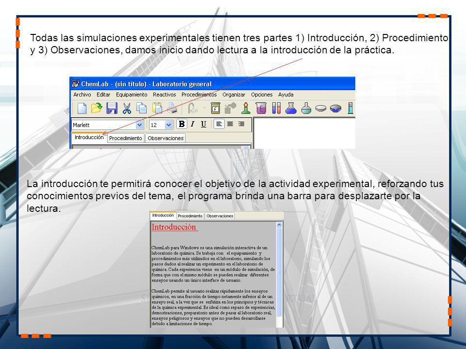 Todas las simulaciones experimentales tienen tres partes 1) Introducción, 2) Procedimiento