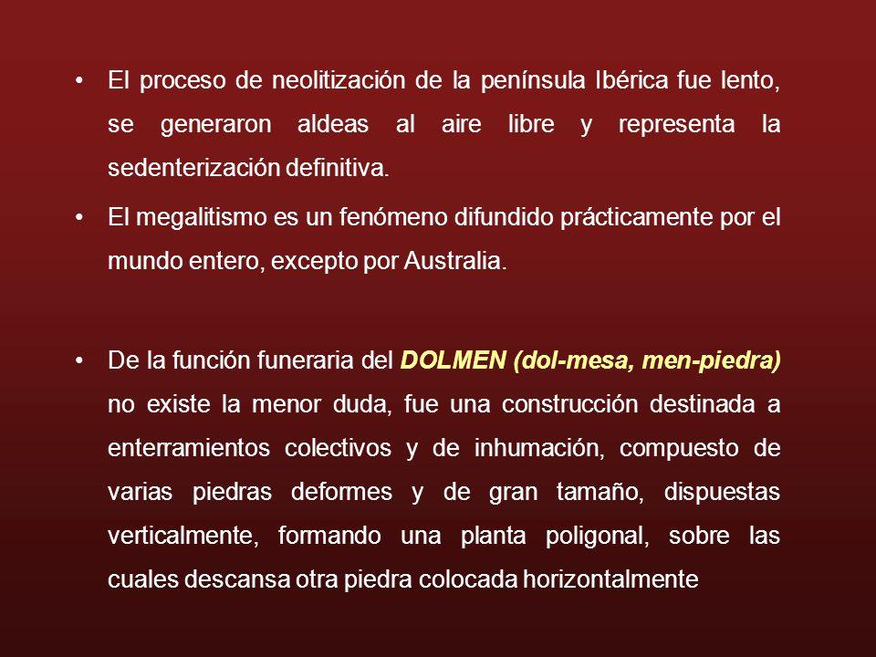 El proceso de neolitización de la península Ibérica fue lento, se generaron aldeas al aire libre y representa la sedenterización definitiva.