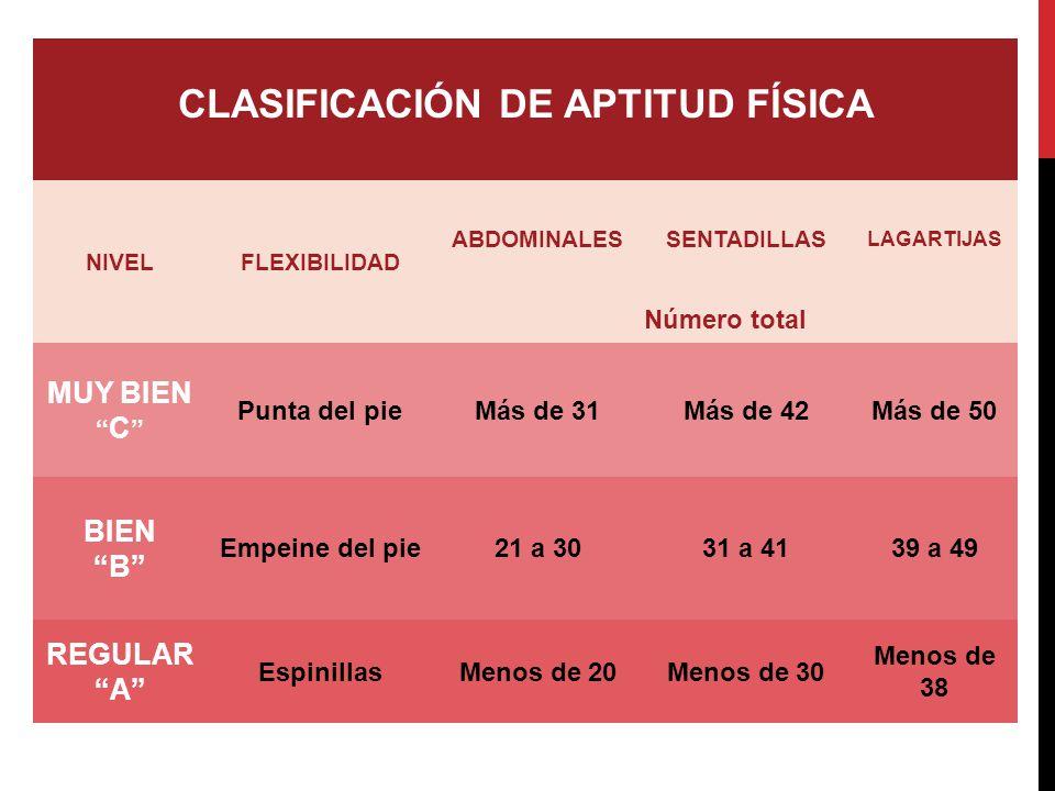 CLASIFICACIÓN DE APTITUD FÍSICA