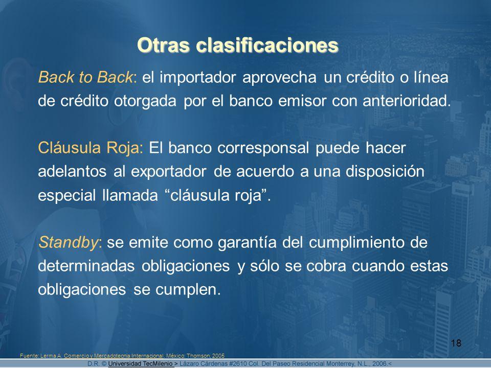 Otras clasificaciones