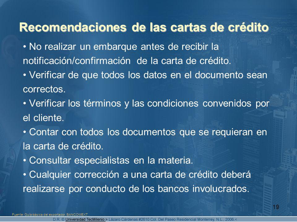 Recomendaciones de las cartas de crédito