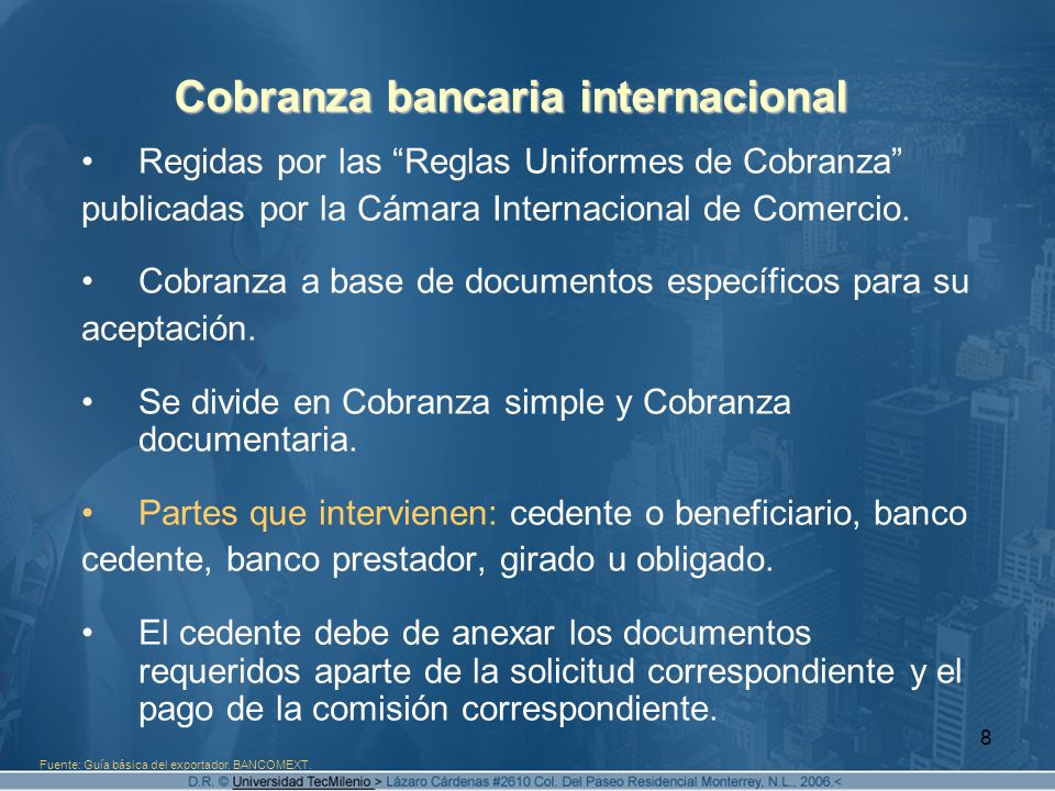 Cobranza bancaria internacional
