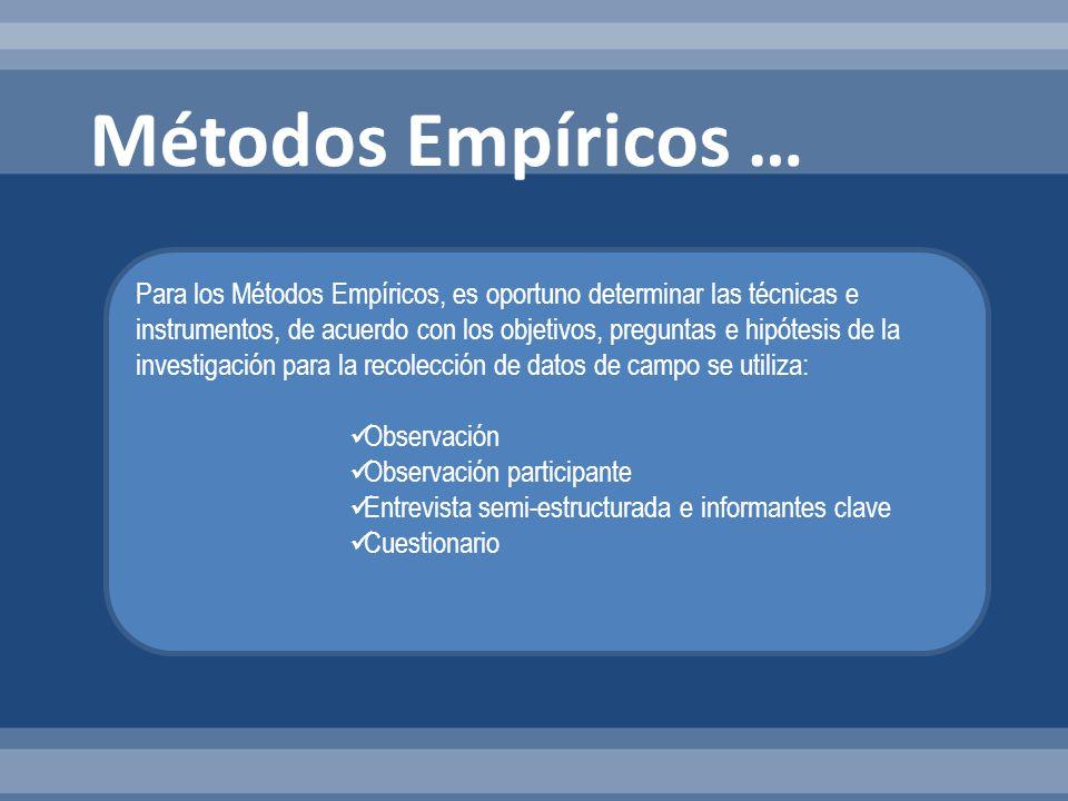 Métodos Empíricos …