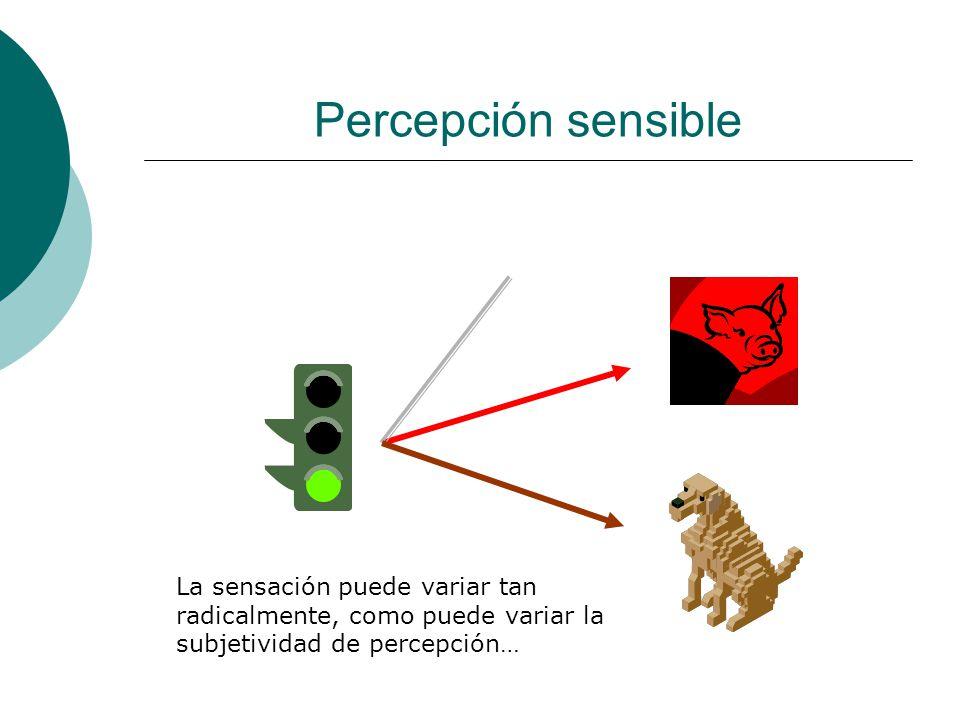 Percepción sensible La sensación puede variar tan radicalmente, como puede variar la subjetividad de percepción…