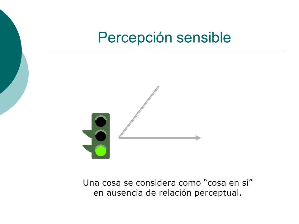 Percepción sensible Una cosa se considera como cosa en sí