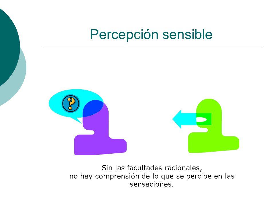 Percepción sensible Sin las facultades racionales,