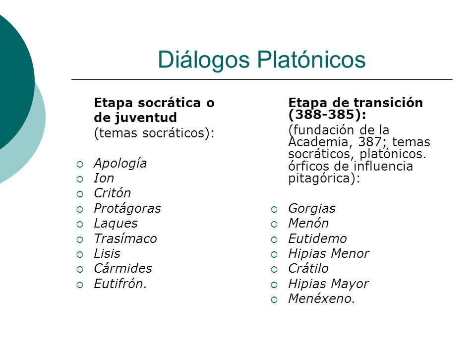 Diálogos Platónicos Etapa socrática o de juventud (temas socráticos):