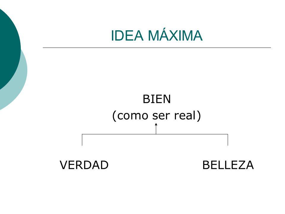 IDEA MÁXIMA BIEN (como ser real) VERDAD BELLEZA