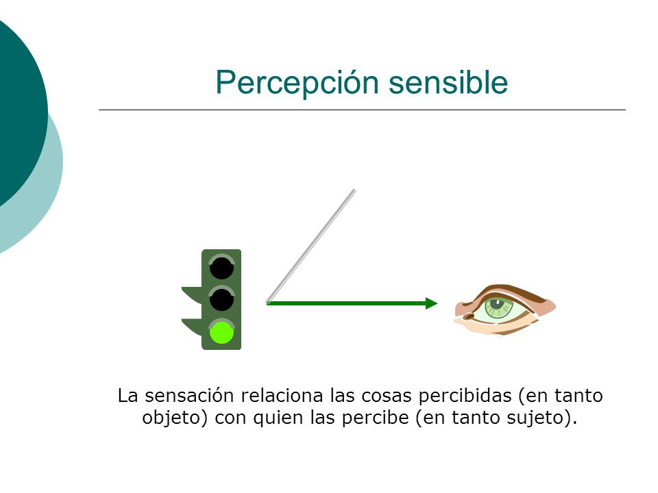 Percepción sensible La sensación relaciona las cosas percibidas (en tanto objeto) con quien las percibe (en tanto sujeto).