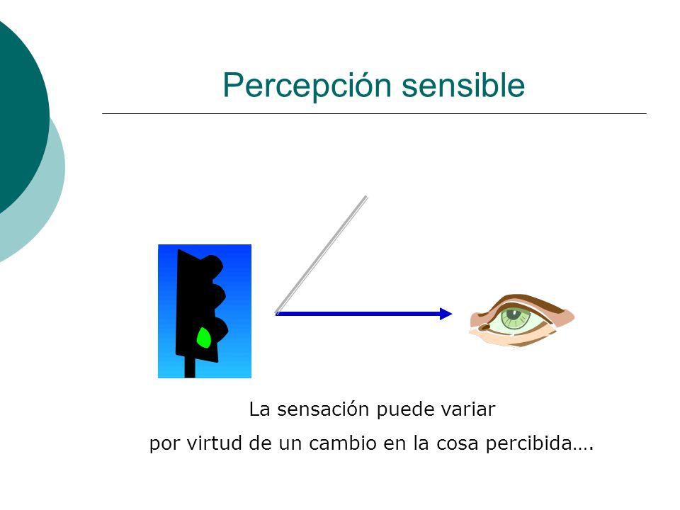 Percepción sensible La sensación puede variar