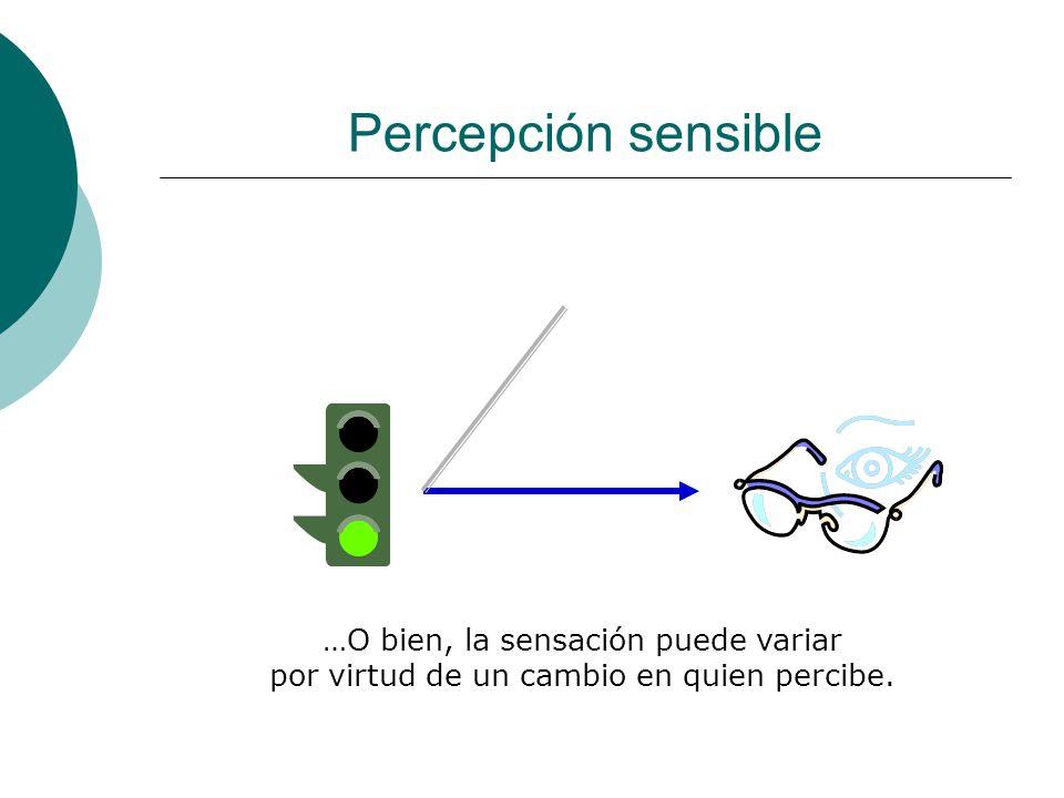 Percepción sensible …O bien, la sensación puede variar