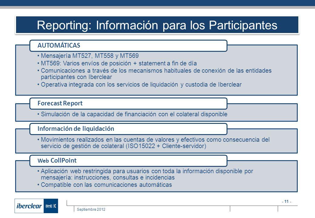Reporting: Información para los Participantes
