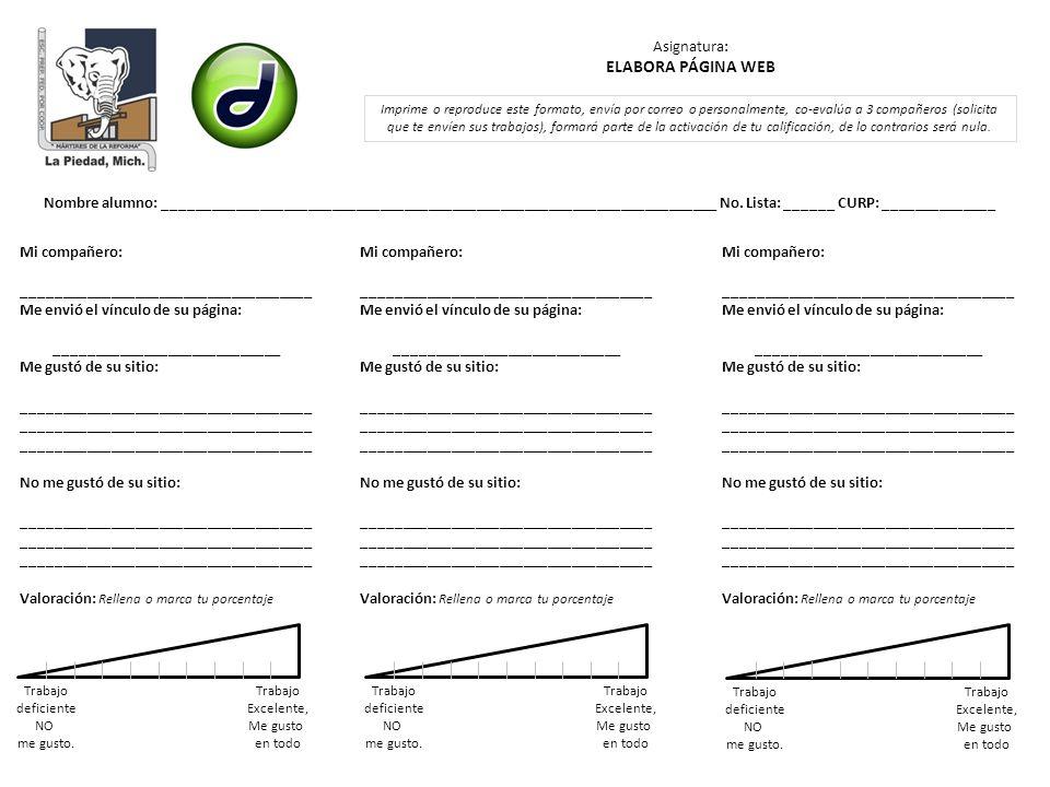 ELABORA PÁGINA WEB Asignatura: