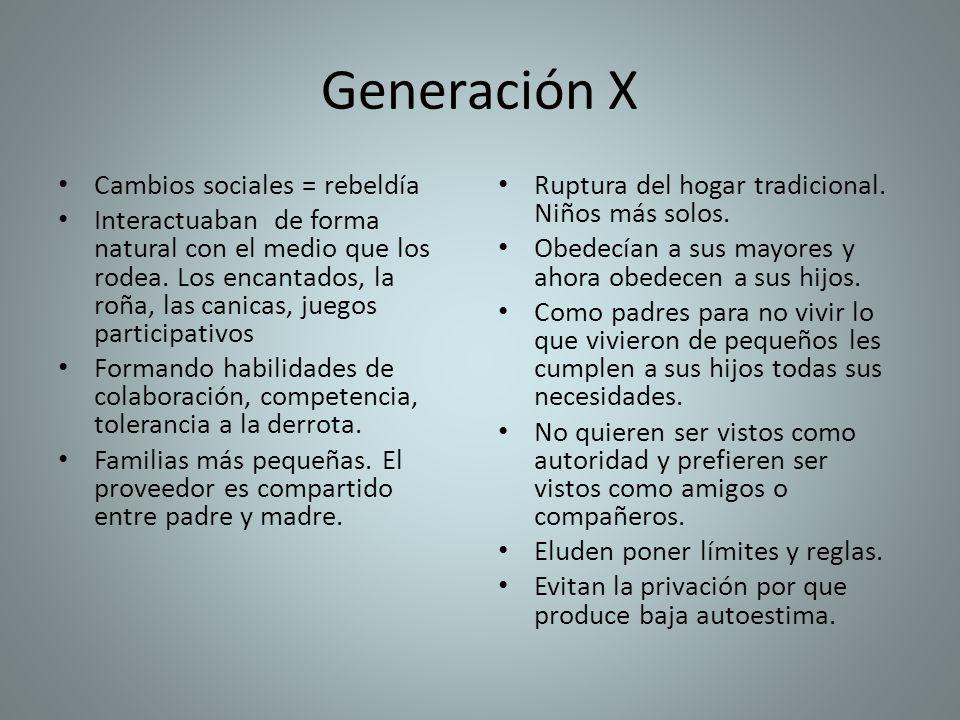 Generación X Cambios sociales = rebeldía