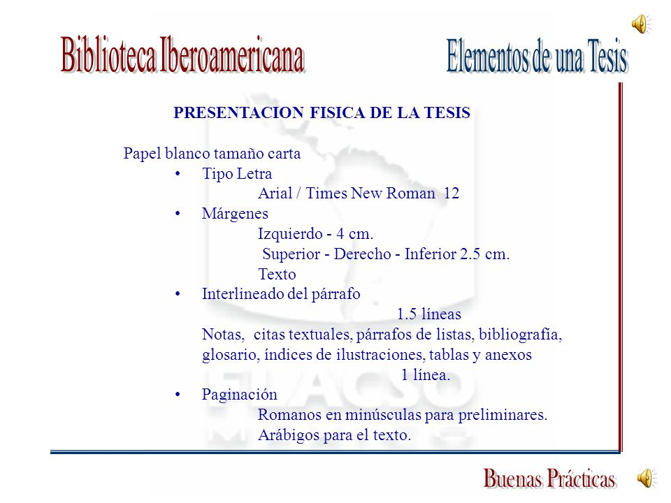 PRESENTACION FISICA DE LA TESIS