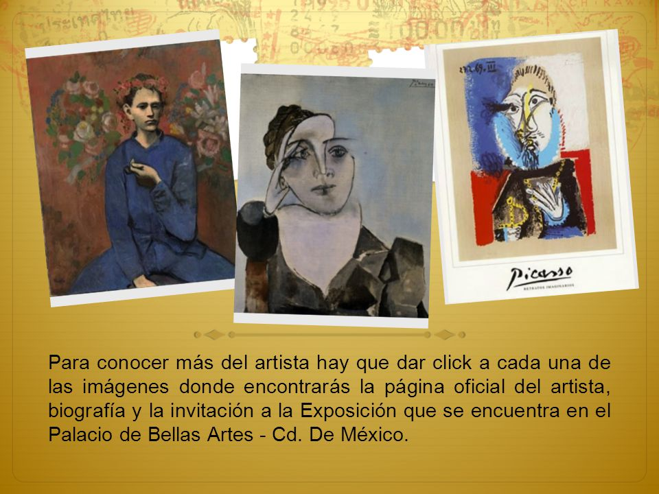 Para conocer más del artista hay que dar click a cada una de las imágenes donde encontrarás la página oficial del artista, biografía y la invitación a la Exposición que se encuentra en el Palacio de Bellas Artes - Cd.