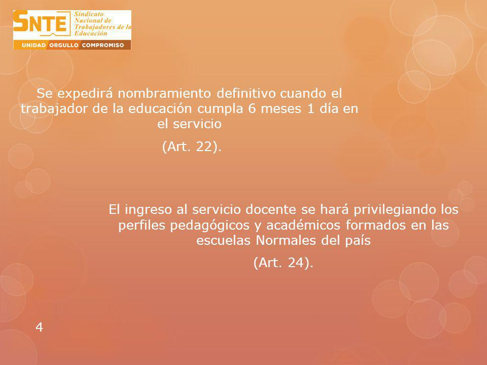 Se expedirá nombramiento definitivo cuando el trabajador de la educación cumpla 6 meses 1 día en el servicio (Art. 22).