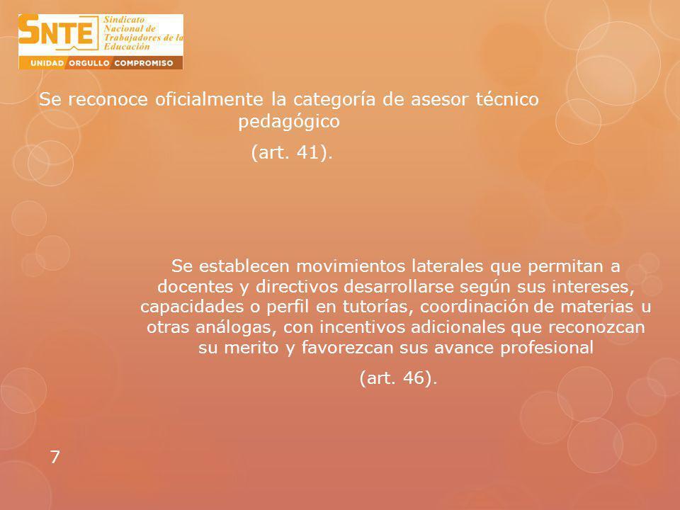 Se reconoce oficialmente la categoría de asesor técnico pedagógico (art. 41).