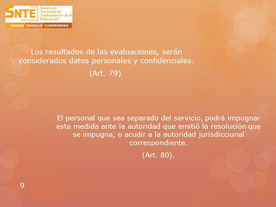 Los resultados de las evaluaciones, serán considerados datos personales y confidenciales. (Art. 79).