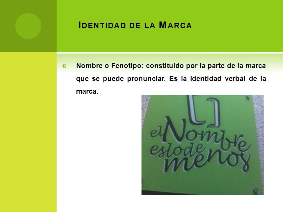 Identidad de la Marca Nombre o Fenotipo: constituido por la parte de la marca que se puede pronunciar.