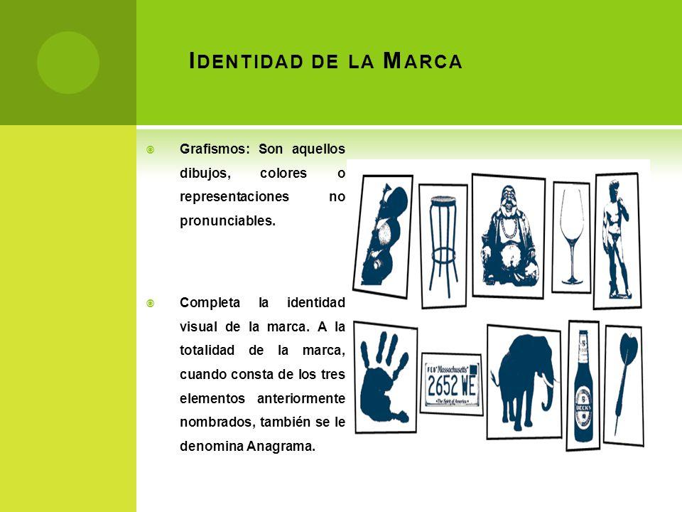 Identidad de la Marca Grafismos: Son aquellos dibujos, colores o representaciones no pronunciables.