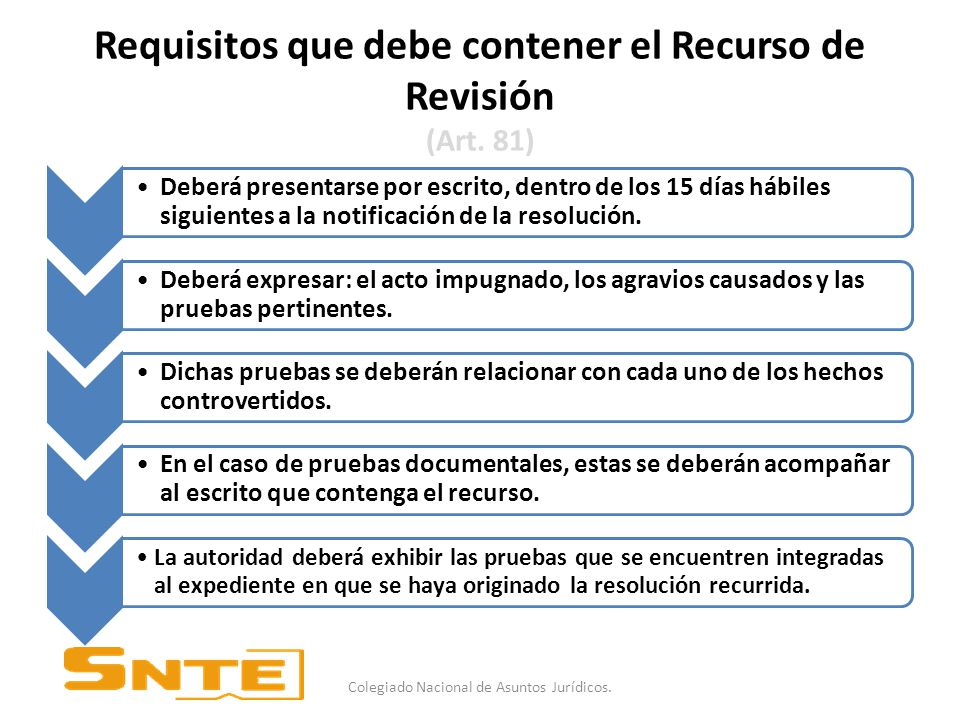 Requisitos que debe contener el Recurso de Revisión (Art. 81)