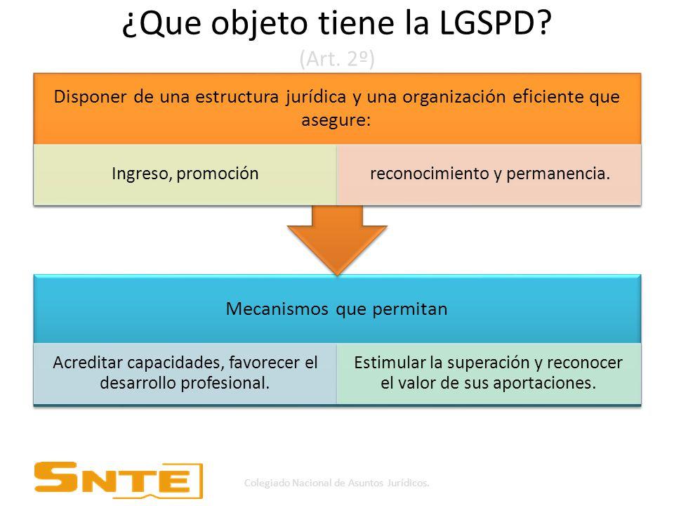 ¿Que objeto tiene la LGSPD (Art. 2º)