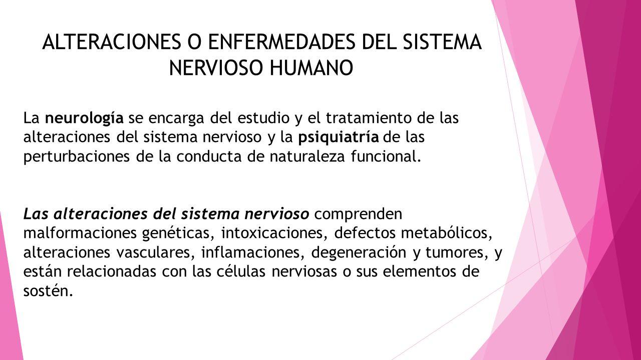 ALTERACIONES O ENFERMEDADES DEL SISTEMA NERVIOSO HUMANO