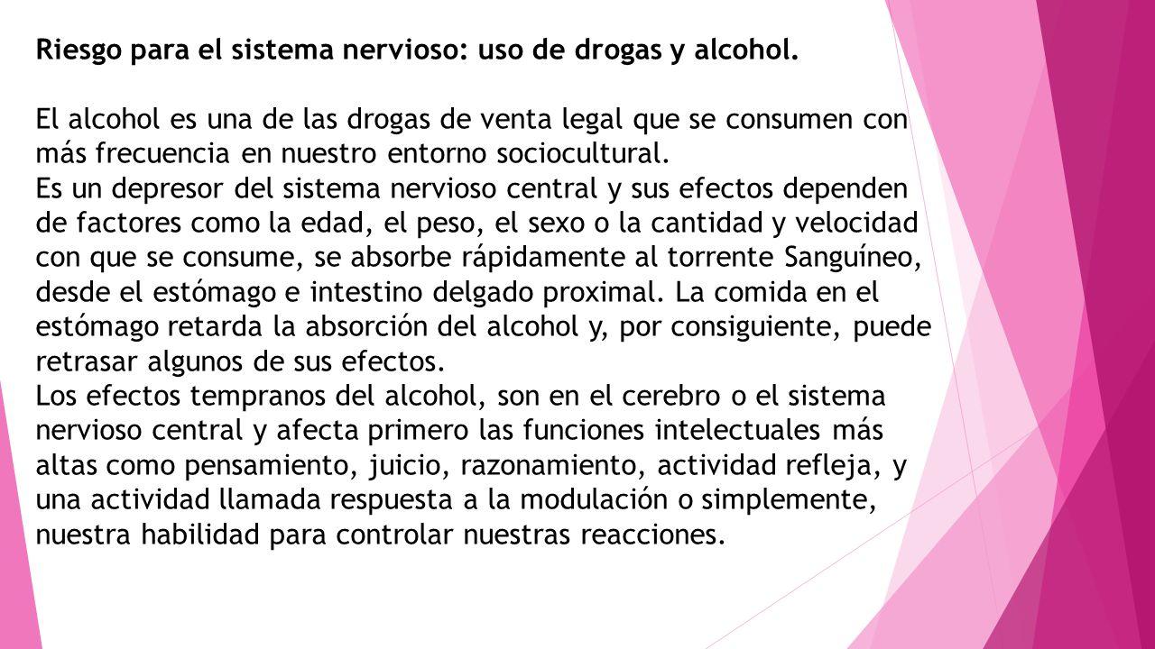 Riesgo para el sistema nervioso: uso de drogas y alcohol.