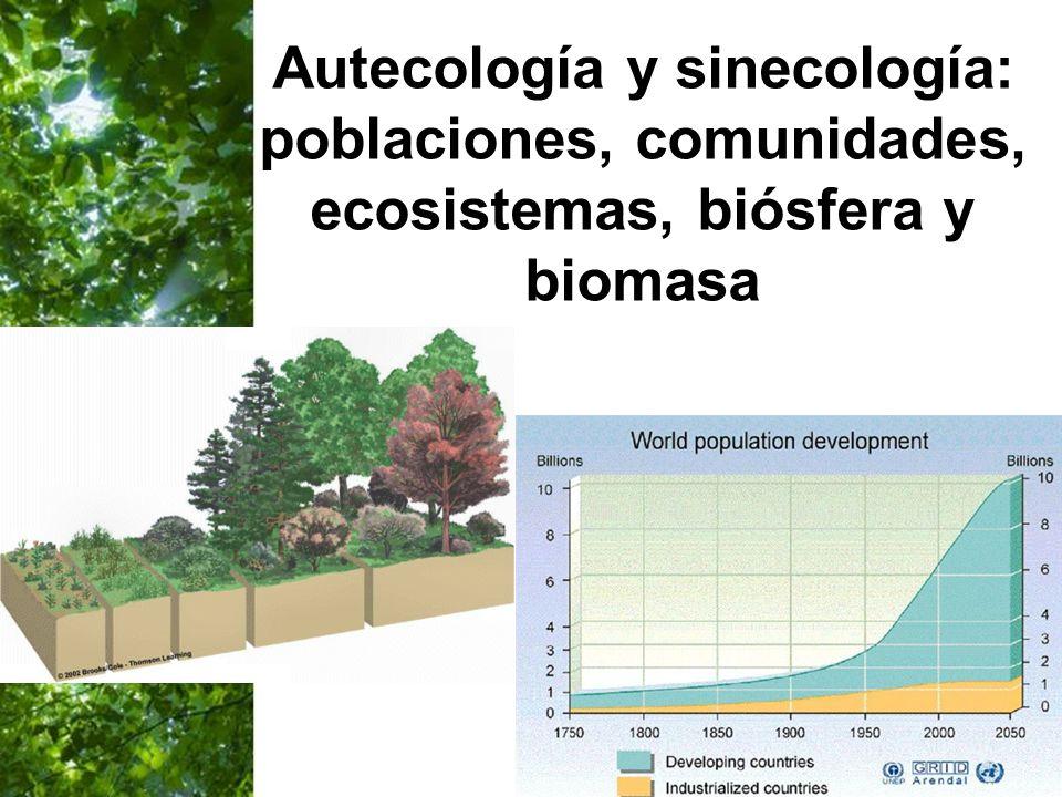 Autecología y sinecología: poblaciones, comunidades, ecosistemas, biósfera y biomasa