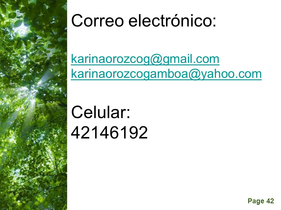 Correo electrónico: karinaorozcog@gmail. com karinaorozcogamboa@yahoo