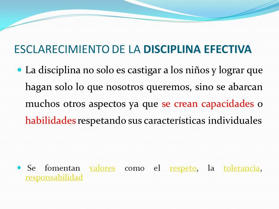 ESCLARECIMIENTO DE LA DISCIPLINA EFECTIVA