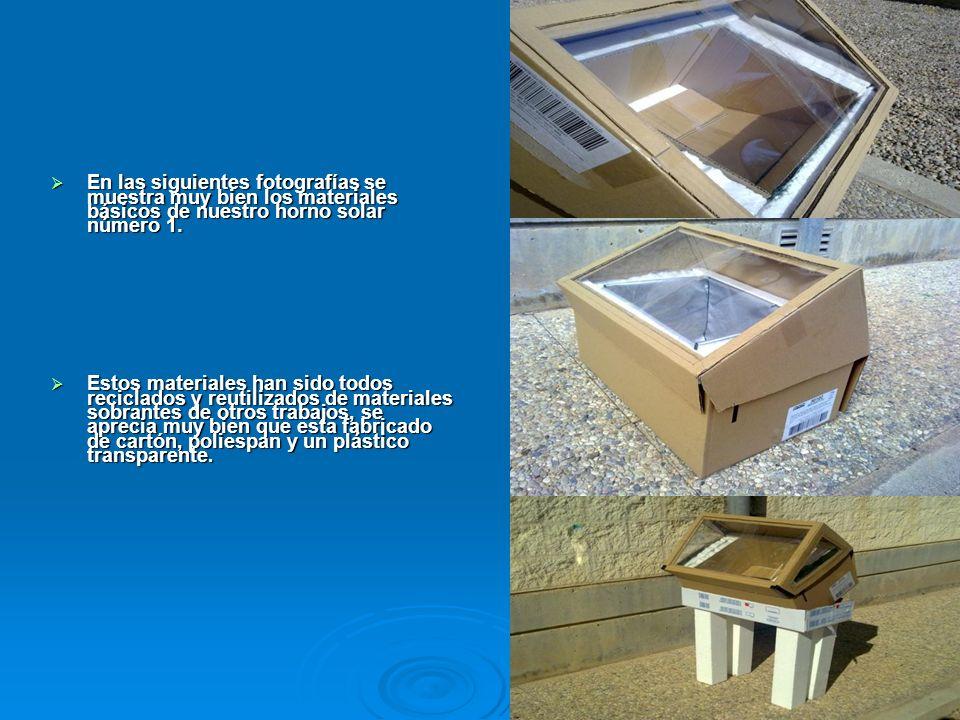 En las siguientes fotografías se muestra muy bien los materiales básicos de nuestro horno solar número 1.