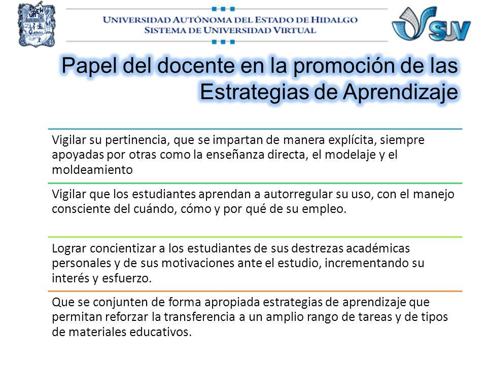 Papel del docente en la promoción de las Estrategias de Aprendizaje