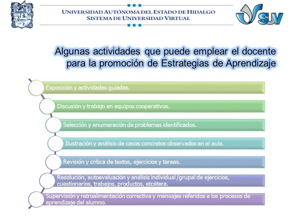 Algunas actividades que puede emplear el docente para la promoción de Estrategias de Aprendizaje