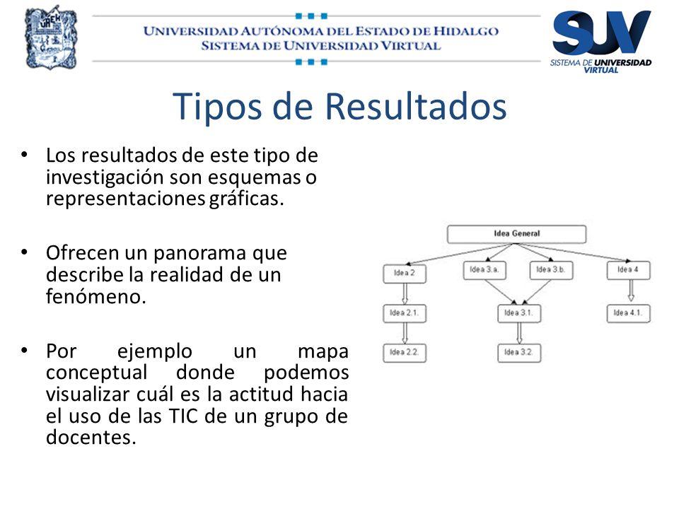 Tipos de Resultados Los resultados de este tipo de investigación son esquemas o representaciones gráficas.