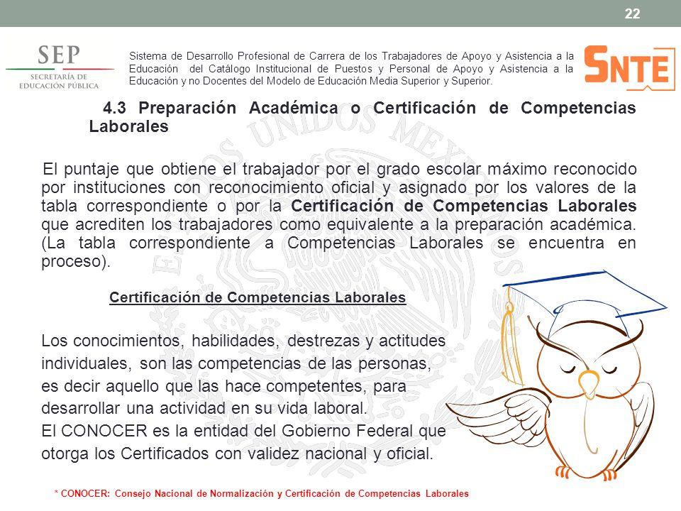 4.3 Preparación Académica o Certificación de Competencias Laborales